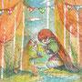 01/05/ ☆『 思い出 』 ---使用*マルチライナー茶0.05、透明水彩、白ペン