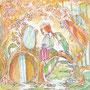 03/31/ ☆『 春ノ子 』 ---使用*マルチライナー赤0.05、透明水彩、白ペン