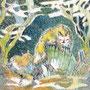 12/21/ ☆『 雪花猫 』 ---使用*ORAWING PEN0.05、透明水彩、白ペン