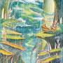 06/10/ ☆『 微睡のなかで 』 ---使用*マルチライナー赤0.05、透明水彩、白ペン