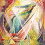 10/11『 朝露 』記録の断片_擬態竜の雌。かれらは奥深い森を好む。雄は巨大な角を勇士の証とし、皮膚には苔や植物花が寄生することでより賢く生き延びた。草木に身を潜ませ、雌だけの唯一無二の翼をひろげ空を舞い、生涯共に生きる片割れを探す旅にでる。光差す光景はとても美しく。別名【虹筋竜(コウスジリュウ)】と人は呼ぶ。