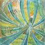03/31/ 『 羽ばたく者 』 ---使用*マルチライナー青0.05、透明水彩、白ペン