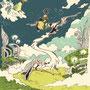 08/10/ 『 陽気な曜日 』 ---宙さん、月くんに回収されるの巻----使用*STAEDTLER pigment liner0.05、SAI