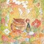 03/30/ ☆『 春がきた 』 ---使用*マルチライナー茶0.05、透明水彩、白ペン