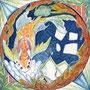 10/25/ ☆『 真珠 』 ---使用*ランプライト水彩紙、マルチライナー青0.05、透明水彩、白ペン