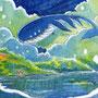 07/30/ ☆『 旅くじら 』 ---使用*マルチライナー青0.05、透明水彩、白ペン
