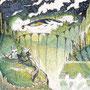 12/12/ ☆『 深夜0時の空の旅 』 ---旅は永遠に。--- 使用*ORAWING PEN0.05、透明水彩、白ペン