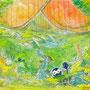06/24/ ☆『 思い出の欠片 』 ---使用*マルチライナー青0.05、透明水彩、白ペン