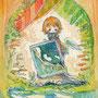 03/20/ ☆『青空』 ---使用*マルチライナー青0.05、透明水彩、珈琲、白ペン