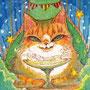 02/11/ ☆『 星猫 』 ---使用*マルチライナー茶0.05、透明水彩、白ペン