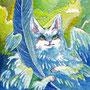 07/30/ ☆『 羽猫 』 ---使用*マルチライナー青0.05、透明水彩、白ペン