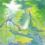 07/31/ ☆『 朝焼け 』 ---使用*マルチライナー青0.05、透明水彩、白ペン