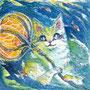 07/30/ ☆『 海猫 』 ---使用*マルチライナー青0.05、透明水彩、白ペン