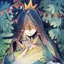 08/29/ ☆『 夜のサーカス 』 ---ぼくの箱庭--- 使用:マルチライナー赤/緑/青/紫0.05、透明水彩、白ペン