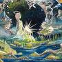 02/26/☆『 大地を見守りし女神 』--- 器にて生命(いのち)は宿り、草木は茂り、星となる--- 使用:STAEDTLER pigment liner0.05、透明水彩、白ペン、チタンホワイト