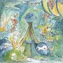 03/30/ ☆『 海底庭園 』 ---使用*マルチライナー青0.05、透明水彩、白ペン
