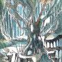 03/03/ 『 世界樹 』 ---使用:STAEDTLER pigment liner0.05、透明水彩、白ペン