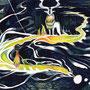 06/20/ 『 ゆく川のながれ 』 ---使用:マルチライナー4色(赤/茶/青/緑)0.05、透明水彩、白ペン