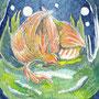 06/25/ ☆『 不死鳥 』 ---使用*マルチライナー青0.05、透明水彩、白ペン