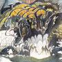 11/11/ 『 百鬼夜行 』 ---賑やか仮装に紛れてぞろぞろ----- 使用*ランプライト水彩紙、ORAWING PEN0.05、透明水彩、白ペン