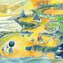 08/16/ 『 崖上温泉地 』 ---みんなで噂の秘境へ  はるばる浸かりにやってきた  効果は疲労回復、腰痛、肩こり!---使用*マルチライナー青0.05、透明水彩、白ペン