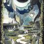 03/17/ 『 月の使者 』 ---光よ、陽よ、ひっそり隠し  途切れた絆をもう一度  双子の兄との再会を誓う--- 使用:STAEDTLER pigment liner/ORAWING PEN0.05、透明水彩、珈琲、白ペン、ガナッシュホワイト(アクリル白)