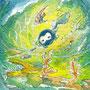 07/30/ ★『 まどろみ 』 ---使用*マルチライナー緑0.05、透明水彩、白ペン