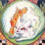10/24/ ☆『 福猫 』 ---使用*ランプライト水彩紙、マルチライナー赤0.05、透明水彩、白ペン
