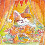 07/30/ ☆『 華猫 』 ---使用*マルチライナー青0.05、透明水彩、白ペン