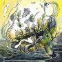 05/08/ 『 方舟 』 ---使用:STAEDTLER pigment liner0.05、透明水彩、ガナッシュホワイト、白ペン