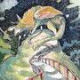 12/12/ ☆『 夢馬 』 ---使用*ORAWING PEN0.05、透明水彩、白ペン