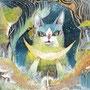 01/05/☆『 月猫 』 ---使用:STAEDTLER pigment liner0.05、透明水彩、アクリル白、白ペン