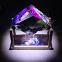 Liqiud prism/2014/偏光フィルム・アクリル・木材/H17×W15×D8cm