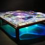 Liquid prism/2015/偏光フィルム・アクリル・木材/H10×W30×D30cm