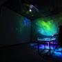 Luminous flux/2016/偏光フィルム・アクリルケース・水・エアーポンプ・アングル/H85×W200×D60cm