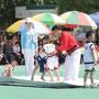 伝統相撲・シルムで競う子どもたち=平壌市内、2018年6月1日