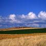 富良野の丘は人が作り上げた偉大な光景。自然の風景ではないが、雄大さを感じることができる。どこも絵になるイメージだが、自分で捜し歩かないと良い景色には巡り会えない。<富良野>