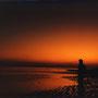 遙か西の彼方に、火の国がある。そんな伝説が生まれてもいいほど、ここで見る夕焼けは幻想的だ。                   引潮のとき。遠くから波の音が聞こえてくるだけ。                              西表島 ボーラ浜 沖縄