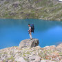 神秘的な色を見せる湖、LAC D'EN HAUT。上空を雲が流れると、色がたちまち変る。<モント・エミリウス周辺/アオスタ――イタリア>