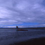 圧迫してくるような雲の下。内陸側からの風を受けながら、カヤックを紐で引いて進む。どこか日本離れした風景。いや、これが北海道だ。道東の夏の一風景だ。<野付半島>