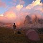 爆発するように湧き上がる雲が、夕日に照らされる。ただただ、感動に打ちひしがれるのみ。<セクステナー/ドロミテ――イタリア>