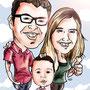 Caricaturas personalizadas online de fotografías: caricatura pareja + niño 45€ a todo color
