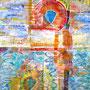 Sommer, 2015.<br /> Mischtechnik auf Papier, 64,5 x 44,5 cm.<br /> Ganz früh am Morgen<br />Leuchten steigender Sonne <br />still glitzerndes Licht.