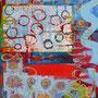 Blauer Mittag (Lied froh gepfiffen...), 2016.<br /> Mischtechnik auf Leinwand, 100 x 80 cm
