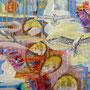 Gezeiten oder: im Schwung des Lebens, 2016.<br /> Mischtechnik auf Leinwand, 30 x 40 cm
