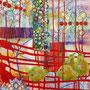 Rot wurzelnd - reife Früchte, 2016.<br /> Mischtechnik auf Papier, 65 x 44,5 cm