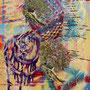 Nestbau - wie ich meine Welt erschaffe, 2017.<br />Mischtechnik auf Leinwand, 70 x 50 cm