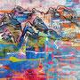 Fernes Land, 2016.<br /> Mischtechnik auf Papier, 65 x 44,5 cm.<br /> Schönes Land, Berge.<br />Wohin zielt deine Sehnsucht?<br />Fernweh und Heimweh.
