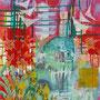 Sumpfschwertlilien, 2017.<br /> Mischtechnik auf Papier, 65 x 47,5 cm