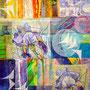 Heitere Gesellschaft, 2015. <br />Mischtechnik auf Papier, 65 x 44,5 cm